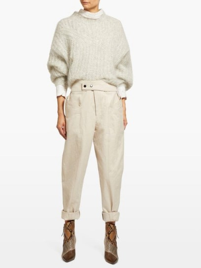 ISABEL MARANT Lixy belted high-rise tapered trousers ~ stylish beige pants