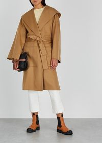 LOEWE Camel wool and cashmere-blend coat ~ light-brown belted coats