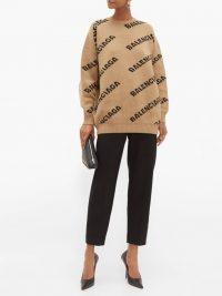 BALENCIAGA Logo wool-blend jacquard sweater in beige