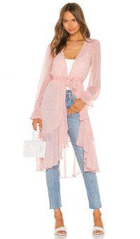 LPA Ruffle Duster With Peasant Sleeve Pink Leopard – semi sheer longline jacket