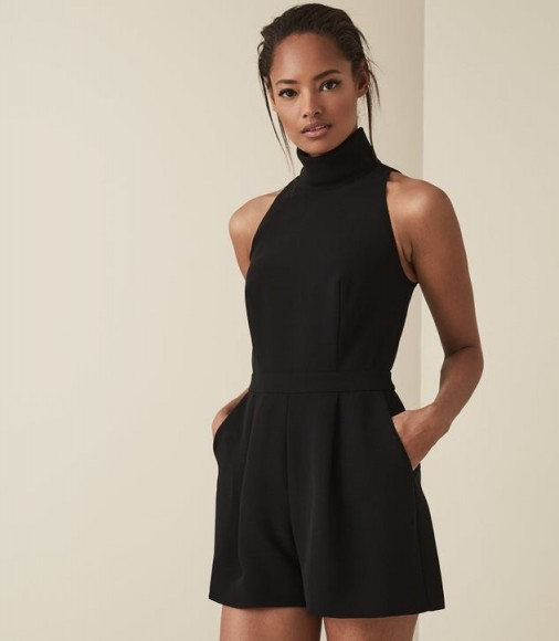 REISS LUCILLE OPEN BACK PLAYSUIT BLACK ~ evening tailored playsuits