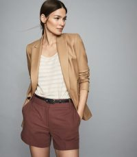 REISS LYLA TAILORED SHORTS MAHOGANY ~ reddish-brown summer clothing