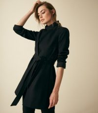 REISS MAISIE WRAP COLLAR COAT BLACK ~ chic tie waist coats