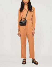 MAJE Paromane belted lyocell and linen-blend jumpsuit terracotta