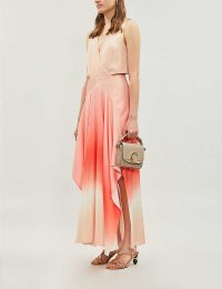 MAJE Resia tie-dye V-neck sleeveless satin maxi dress coral