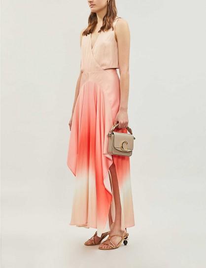 MAJE Resia tie-dye V-neck sleeveless satin maxi dress coral