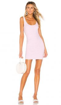 MAJORELLE Willa Dress Pink Gingham / checked knit bodycon / summer tank dress
