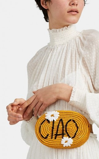 "MANA ""CIAO"" Raffia Belt Bag ~ cute little fanny pack ~ yellow summer bum bags"