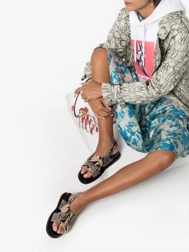 MARNI Fussbett snake-effect sandals / flat reptile slingbacks