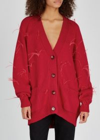 MARQUES' ALMEIDA Red feather-embellished chunky-knit cardigan