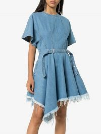 Marques'Almeida Asymmetric Waist Belt Denim Dress in Blue | asymmetrical hemlines