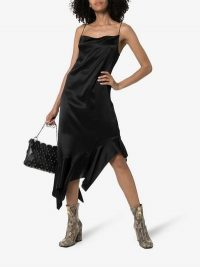 Marques'Almeida Square Neck Asymmetric Silk Dress in Black | frill hem cami frock