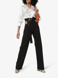 Matériel X Browns Cutout Trousers in Black | high rise belted pants