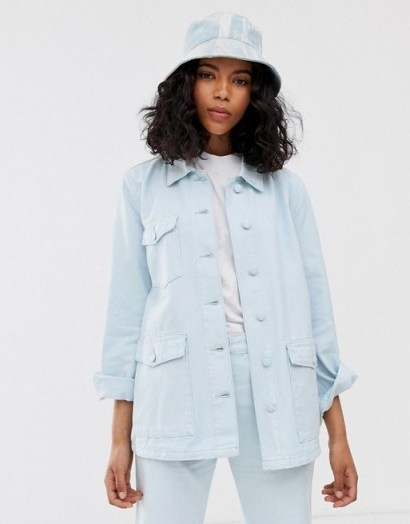 M.C. Overalls work jacket in denim in illusion blue | summer utility jackets - flipped