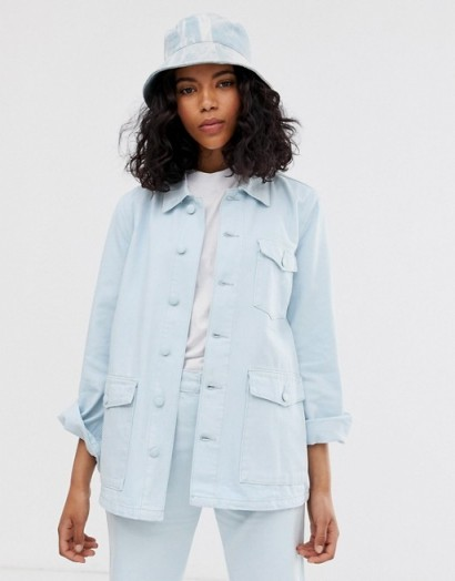 M.C. Overalls work jacket in denim in illusion blue | summer utility jackets