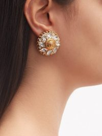 VERSACE Medusa flower crystal clip earrings