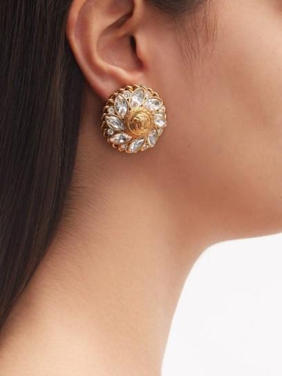VERSACE Medusa flower crystal clip earrings