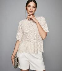REISS MELANIA LACE TOP IVORY ~ feminine scalloped edge blouse