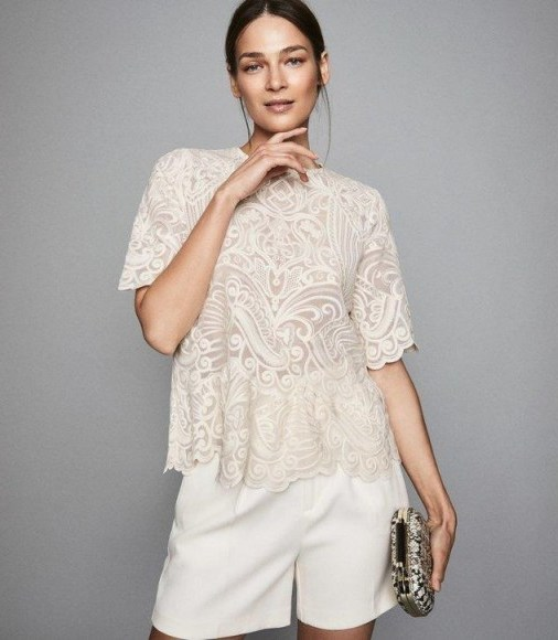REISS MELANIA LACE TOP IVORY ~ feminine scalloped edge blouse - flipped