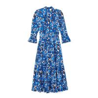 goop x La DoubleJ MIDI VISCONTI CREPE DE CHINE DRESS in LISBOA BLUE / high neck frilled cuff dresses