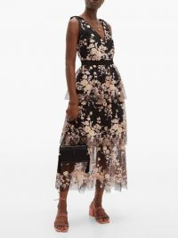 SELF-PORTRAIT Midnight Floral sequinned tiered tulle midi dress black