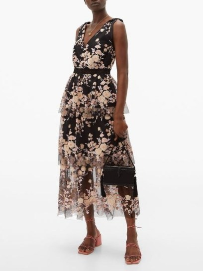 SELF-PORTRAIT Midnight Floral sequinned tiered tulle midi dress black - flipped
