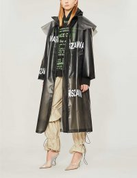 MISBHV Funnel-neck text-print pvc trench coat / black designer coats