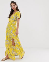 Miss Selfridge maxi dress with button through in yellow pattern / long side split summer frock