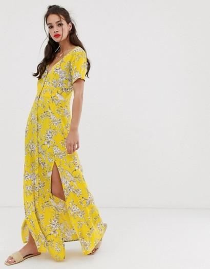Miss Selfridge maxi dress with button through in yellow pattern / long side split summer frock