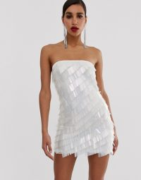 Missguided Peace and Love bandeau mini dress in all over sequins silver | strapless party dresses