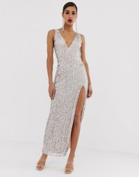Missguided Peace and Love embellished maxi dress with side split in silver | party glamour | glamorous gowns