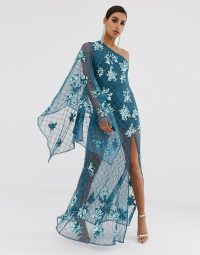 Missguided Peace and Love one shoulder maxi dress with embellishment in blue | long luxe embellished party gown