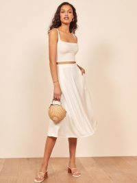 Reformation Molly Two Piece in White | summer skirt and top set