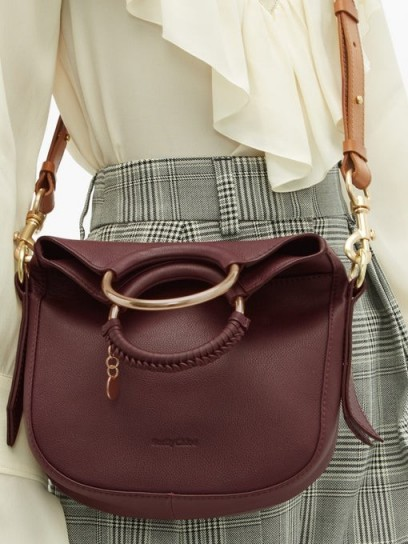 SEE BY CHLOÉ Monroe small leather cross-body bag burgundy ~ metal top handle crossbody