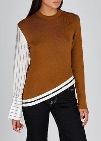 MONSE Brown panelled wool jumper ~ asymmetric hem sweater