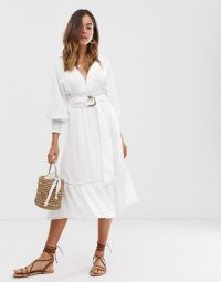 Moon River belted midi dress | white split sleeve summer dresses