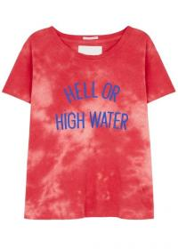 MOTHER Sinful tie-dye cotton-blend T-shirt in red / slogan tee