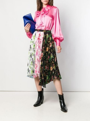MSGM asymmetric floral print pleated skirt / mixed florals