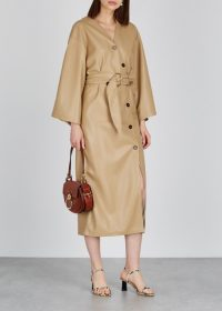 NANUSHKA Iben camel faux-leather midi dress