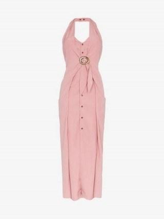 Nanushka Liya Pink Halterneck Sleeveless Dress ~ chic summer clothing - flipped
