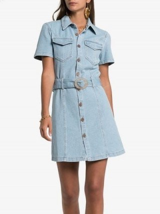 Nanushka Mora Belted Denim Dress ~ casual blue shirt dresses - flipped