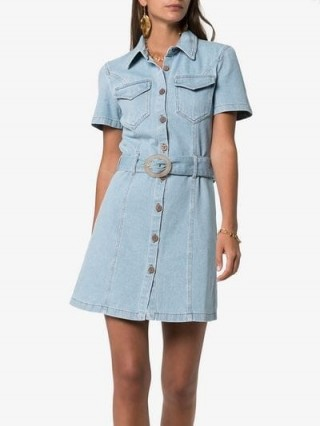 Nanushka Mora Belted Denim Dress ~ casual blue shirt dresses