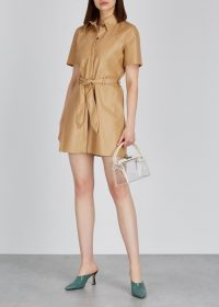 NANUSHKA Roberta camel faux-leather mini dress