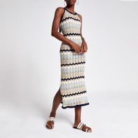 River Island Navy chevron stripe knitted dress | zig zag patterns