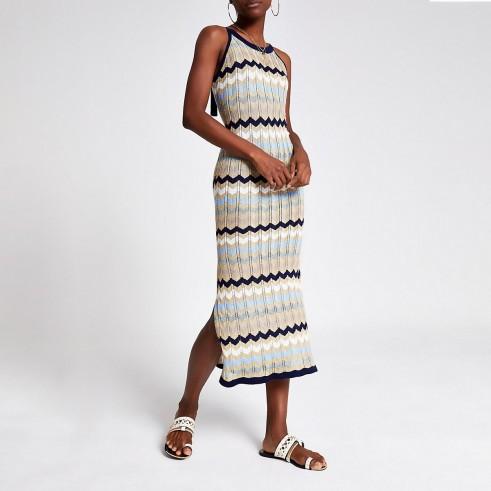 River Island Navy chevron stripe knitted dress | zig zag patterns