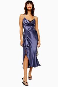 Topshop Navy Lace Back Satin Slip Dress | slinky blue cami dresses