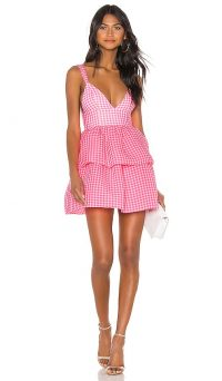 NBD Rita Mini Dress Neon Pink & White | plunge front gingham dresses