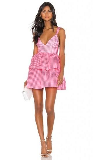 NBD Rita Mini Dress Neon Pink & White   plunge front gingham dresses - flipped