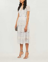 NEEDLE AND THREAD Angelica floral-embroidered short-sleeved tulle dress dusk blue