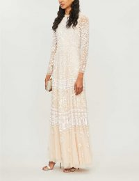 NEEDLE AND THREAD Aurora sequin-embroidered long-sleeved tulle maxi dress vintage blossom